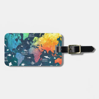 world map 12 luggage tag