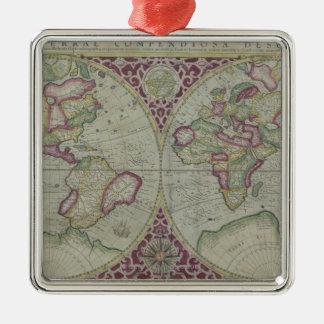 World Map 12 Metal Ornament