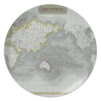 World Map 13 Dinner Plate