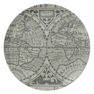 World Map 14 Dinner Plate