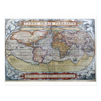 World Map 1572 Postcard