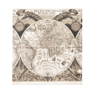 world map 1600 latin original black&white notepad