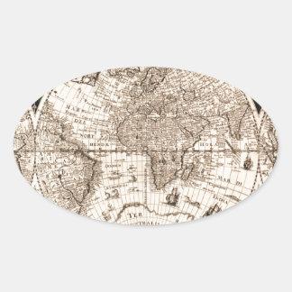 world map 1600 latin original black&white oval sticker