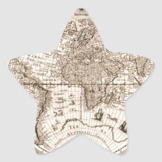 world map 1600 latin original black&white star sticker