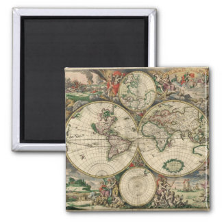 World Map 1689 print 2 Inch Square Magnet