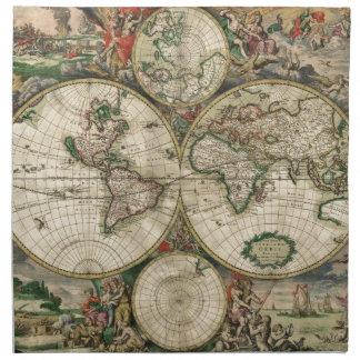 World Map 1689 print Cloth Napkins