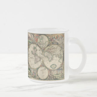 World Map 1689 print Frosted Glass Coffee Mug