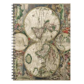 World Map 1689 print Notebooks