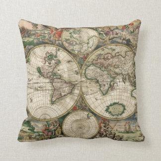 World Map 1689 print Pillows