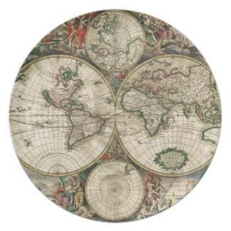 World Map 1689 print Plate