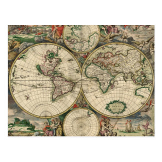 World Map 1689 print Post Card
