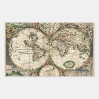 World Map 1689 print Rectangular Sticker
