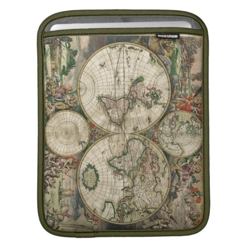 World Map 1689 print Sleeves For iPads
