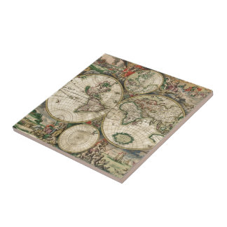 World Map 1689 print Small Square Tile
