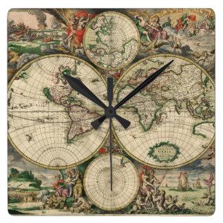 World Map 1689 print Square Wall Clock