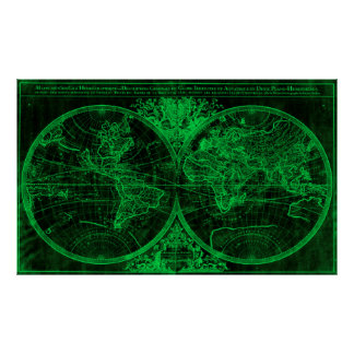 World Map (1691) Black & Green Poster