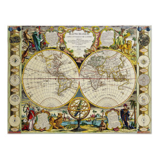 World Map 1755 Poster