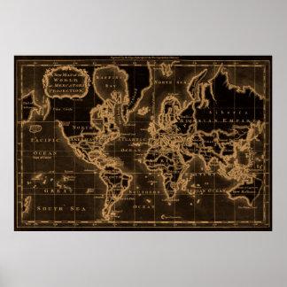 World Map (1766) Black & Light Brown Poster