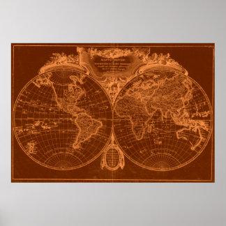 World Map (1775) Brown & Light Brown Poster