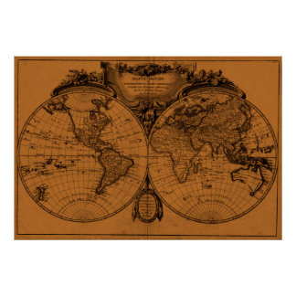 World Map (1775) Light Brown & Black Poster