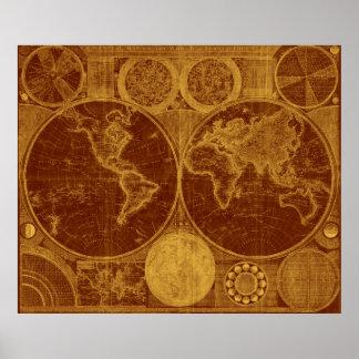 World Map (1794) Brown & Light Brown Poster
