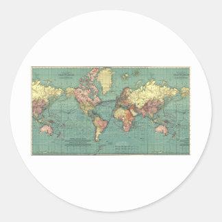 World map 1919 classic round sticker