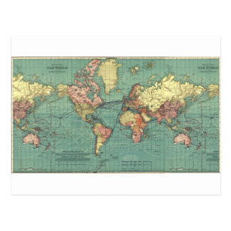 World map 1919 postcard