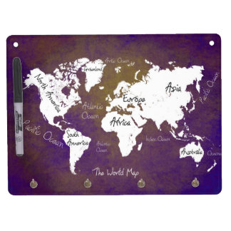 world map 2 dry erase board with keychain holder