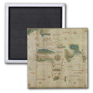 World Map 2 Inch Square Magnet