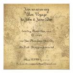 """World Map 5.25"""" Square Invitation Card"""