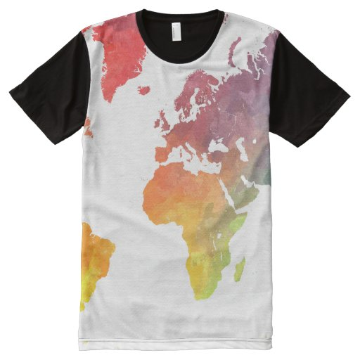 world map 5 All Over print t shirt Zazzle