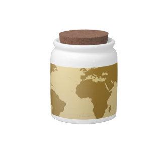 World Map 5 Candy Jars