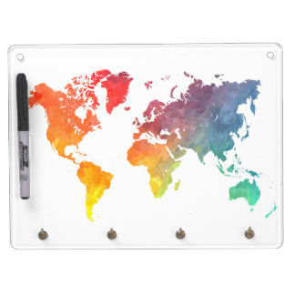 world map 5 dry erase board with keychain holder