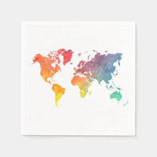 world map 5 paper napkin