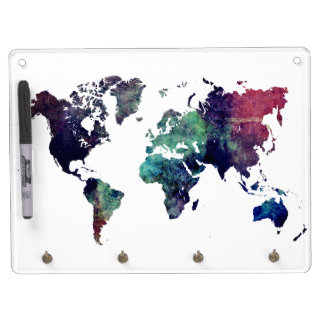 world map 6 dry erase board with keychain holder