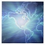 World Map 6 Large Square Tile