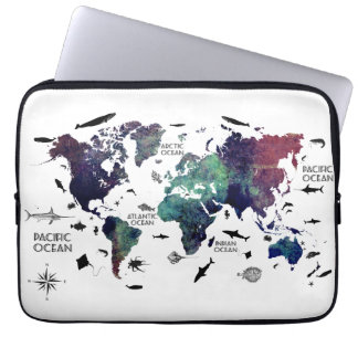 world map 7 computer sleeve