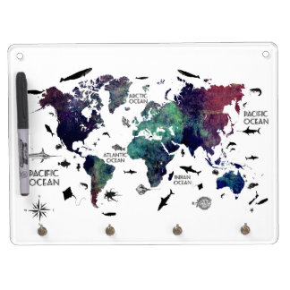world map 7 dry erase board with keychain holder