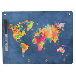 world map 8 dry erase board with keychain holder