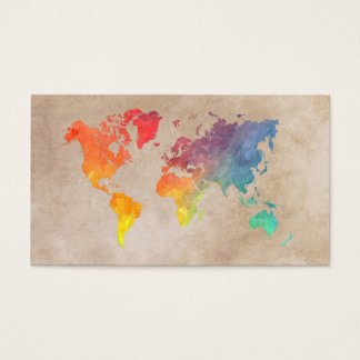 world map 9 business card