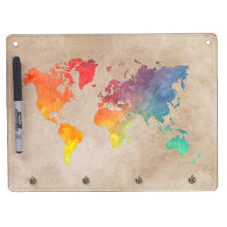 world map 9 dry erase board with keychain holder