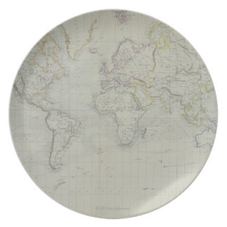 World Map 9 Dinner Plate