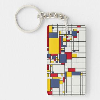 World Map Abstract Mondrian Style Keychain