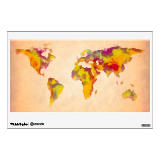 world map, abstract painting wall decal