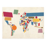 World Map Abstract Postcards