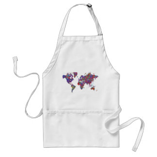 World Map, Action Painting Adult Apron