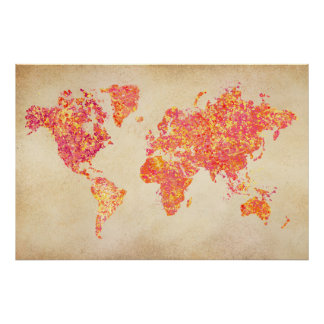 World Map, Action Painting Poster