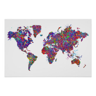 World Map, Action Painting Posters
