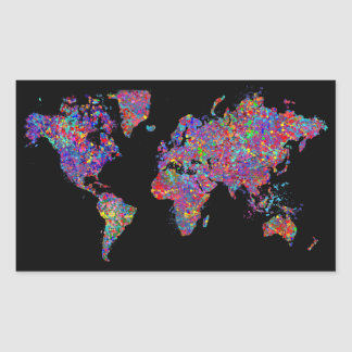 World Map, Action Painting Rectangle Sticker