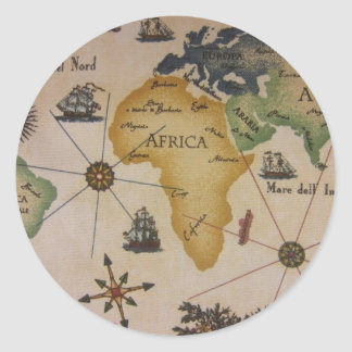 World Map - Africa Classic Round Sticker